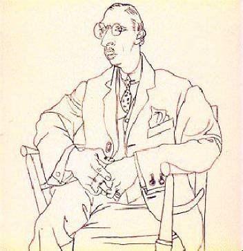 一种坐姿 下面这张范画是西班牙画家毕加索的一幅人物速写高清图片