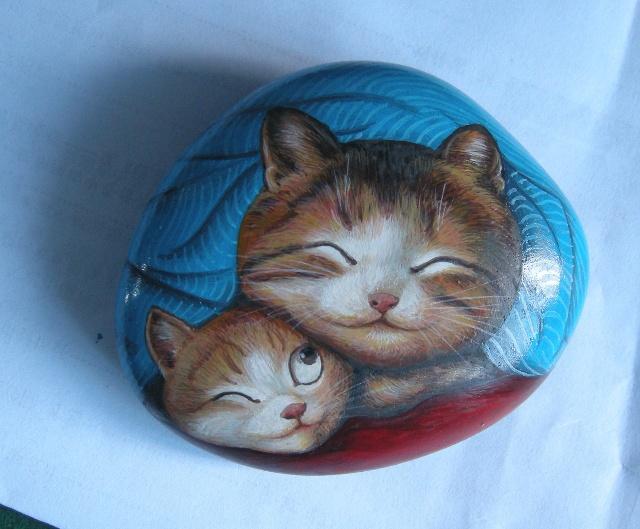 新画的石头猫,送给朋友的生日礼物