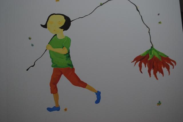 女孩故事墙绘图片