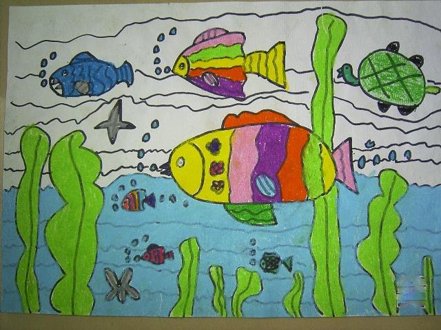 谁画的鱼最大海底世界儿童画谁画的鱼最大ppt我爱我