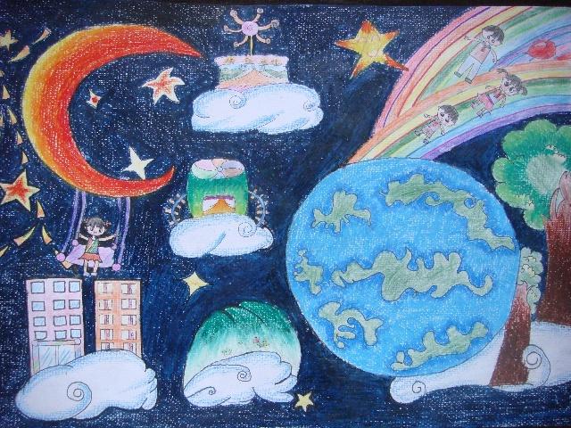 科技创新绘画作品; 小学生科技画作品;