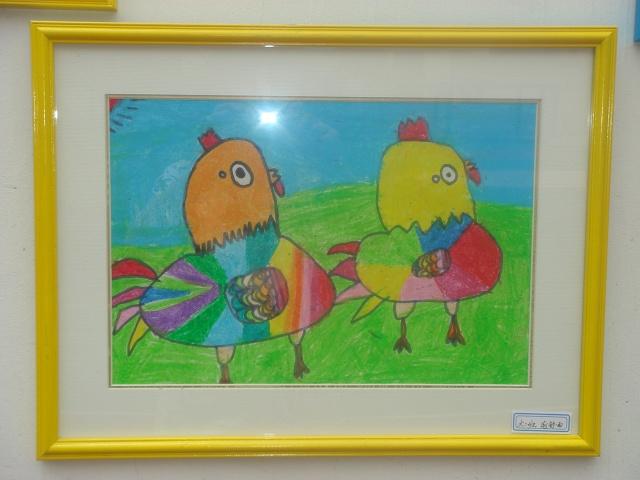 儿童蜡笔画:两个好朋友